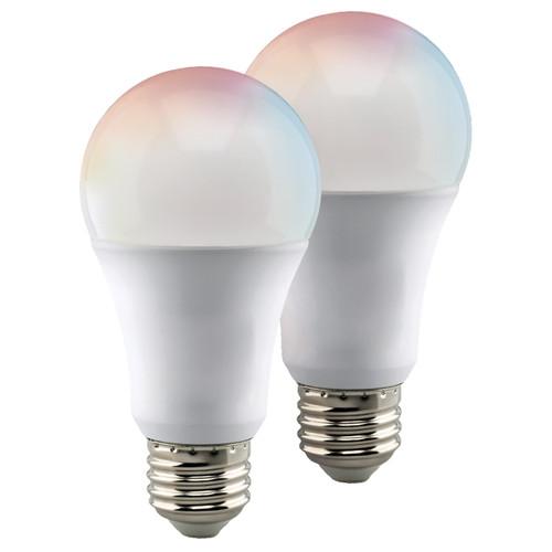 Satco S11253 Wi-Fi A19 LED RGB & Tunable White Bulb, 2 Pack