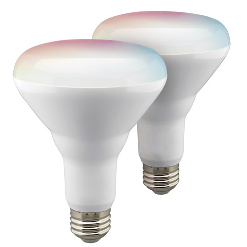 Satco S11256 WI-FI BR30 LED RGB & Tunable White Reflector Lamp, 2 Pack