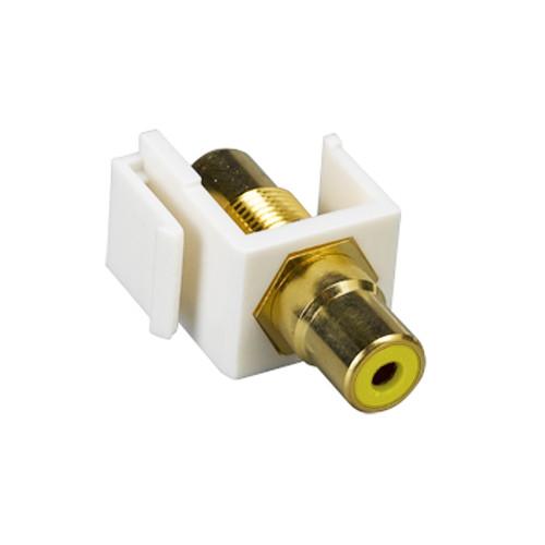 Quest NIN-1402 White, Yellow Insulator RCA (F-F) Keystone Insert