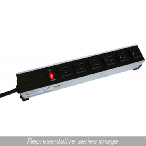 Hammond Manufacturing 1584H6C1 15A H.D. 6 Outlet Strip w/ switch, 6 ft. cord - T Lock - Outlets Front - Black