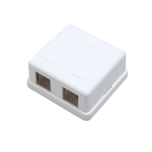 Quest NSB-5220 2-Port White Unloaded Keystone Surface Mount Box
