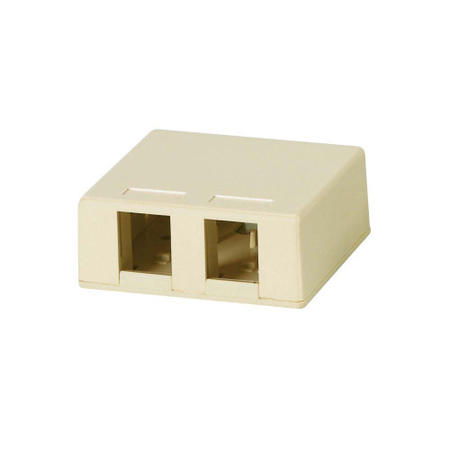 Quest NSB-5221 2-Port Ivory Unloaded Keystone Surface Mount Box