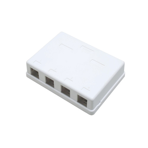 Quest NSB-5240 4-Port White Unloaded Keystone Surface Mount Box
