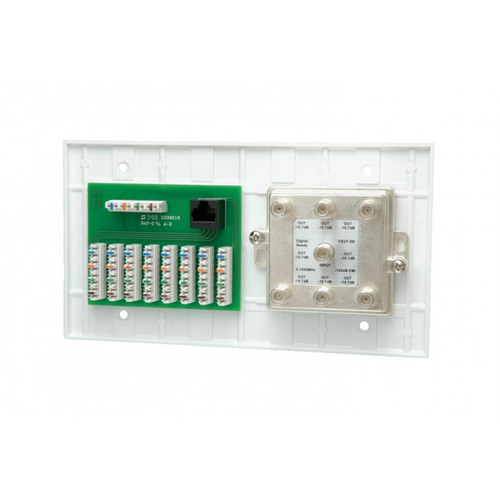 DataComm 70-0078 4-Gang 110 Phone Plate With Video Distribution