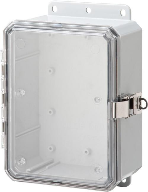 "Integra P8063LPCLL 8"" x 6"" x 3"" High Impact Polycarbonate Hinged Enclosure"
