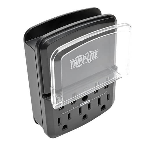 Tripp-Lite SK34USBB Protect It! Personal Charging Station with 3-Outlet Surge Protector, Direct Plug-In, 540 Joules, 4 USB Ports, 3 AC Outlets