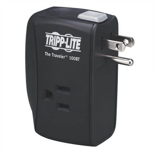 Tripp-Lite TRAVELER100BT Protect It! 2-Outlet Portable Surge Protector, Direct Plug-In, 1050 Joules, Ethernet Protection