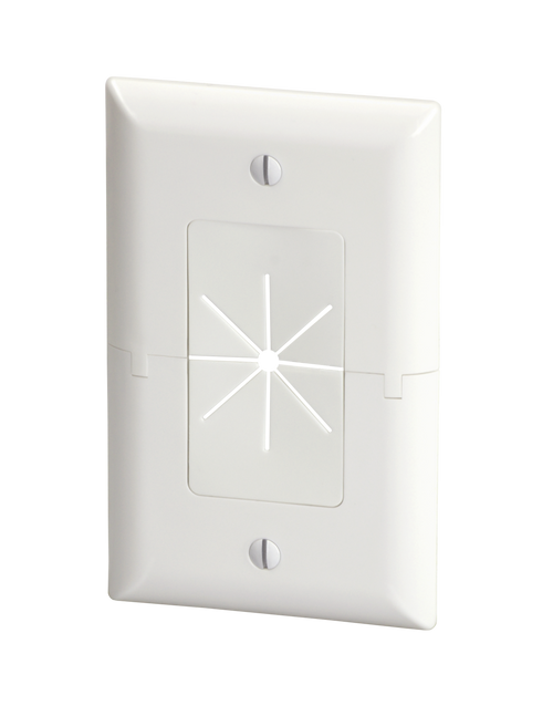 DataComm 45-0017-WH Split Plate w/ Flexible Opening, White