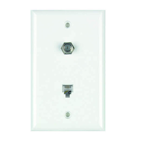DataComm 40-0022 Color-Rite Combination Phone/Coax Plate, White, Mid-Size, UL