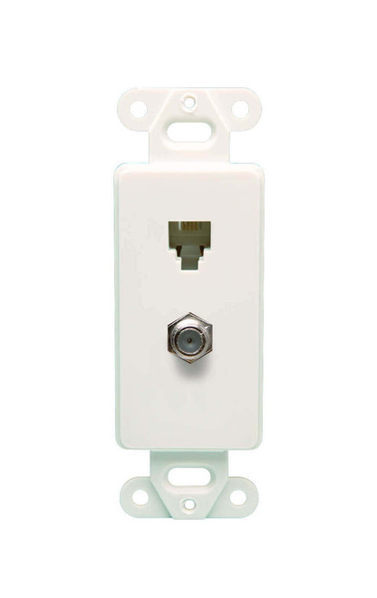 DataComm 40-1712 Color-Rite Decor Combo Phone/Coax Insert, 4 Conductor, White