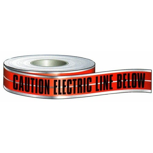 """Morris 69030 3"""" x 1000Ft """"Caution Electric Line Buried Below"""" Detectable Red Tape"""