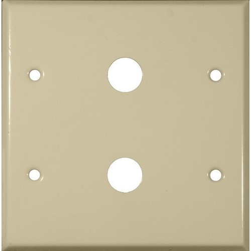 """Morris 83477 White 2 Gang Painted Steel Cable .406"""" Wall Plate"""