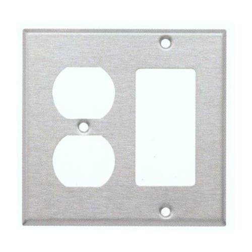 Morris 83861 Stainless Steel 2 Gang, 1 Duplex & 1 Receptacle Wall Plate