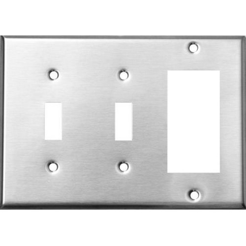 Morris 83864 Stainless Steel 3 Gang, 2 Toggle & 1 GFCI Wall Plate