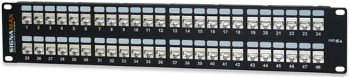 SignaMax 48458S-C6A 48-Port Category 6A MT-Series Screened Patch Panel, 2 RMU