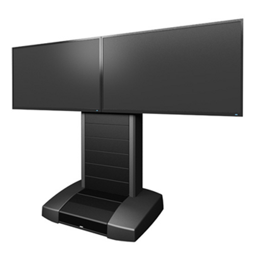 """Middle Atlantic VTC-5670D-RBW 56"""" to 70"""" Dual Display Video Mobile Cart System with Rack"""