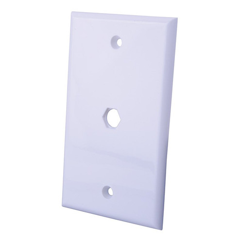 Vanco 120065 Coax Cable Feed-Thru White Light Almond Wall Plate
