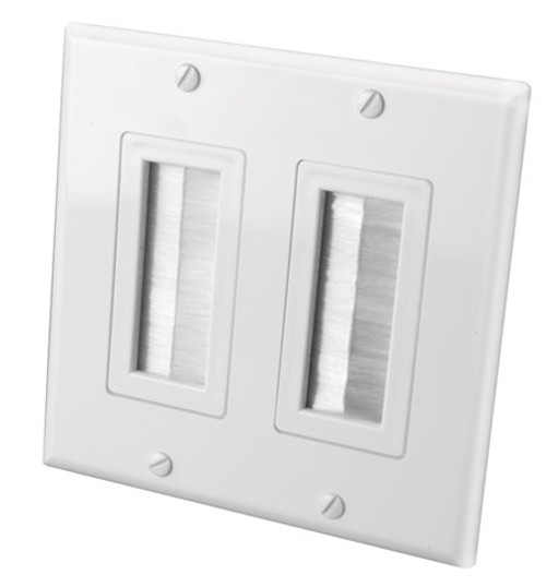 Vanco 120827X Decor Style Brush Bulk Dual White Cable Wall Plate