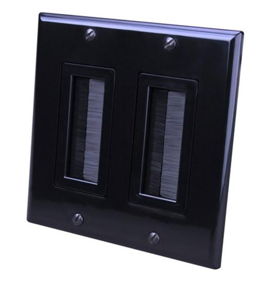Vanco 120828X Decor Style Brush Bulk Dual Black Cable Wall Plate
