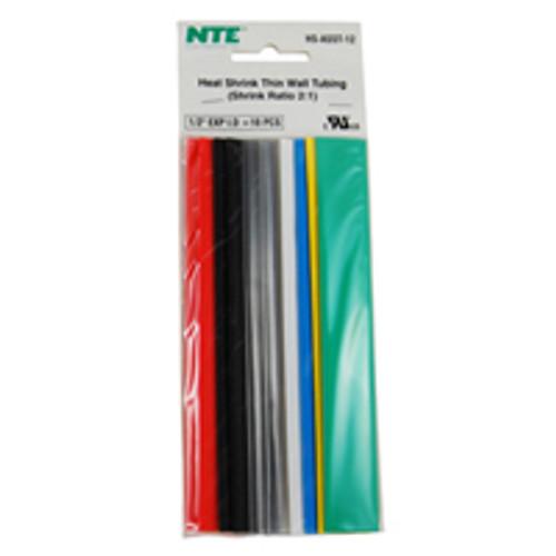 """NTE HS-ASST-12 1/2"""" Diameter, 6"""" Length Multi-Color Thin Wall Heat Shrink Assortment Pack"""