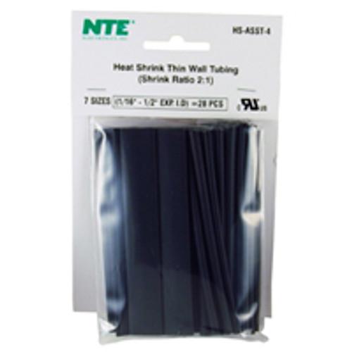 """NTE HS-ASST-4 Black 4"""" Length Thin Wall Heat Shrink Assortment Pack"""