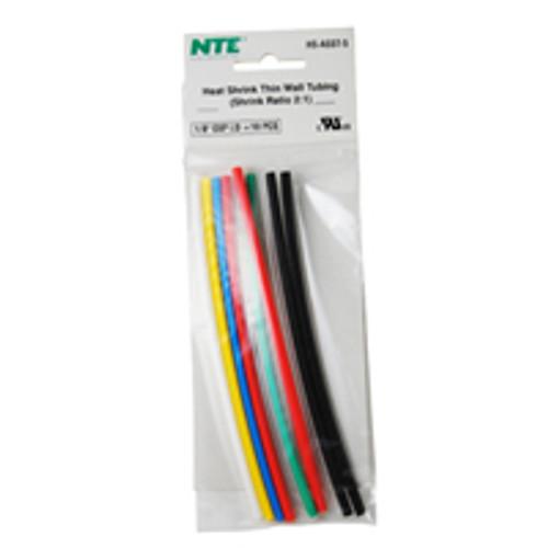 """NTE HS-ASST-5 1/8"""" Diameter, 6"""" Length Multi-Color Thin Wall Heat Shrink Assortment Pack"""