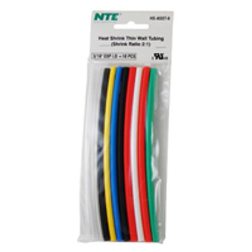 """NTE HS-ASST-6 3/16"""" Diameter, 6"""" Length Multi-Color Thin Wall Heat Shrink Assortment Pack"""