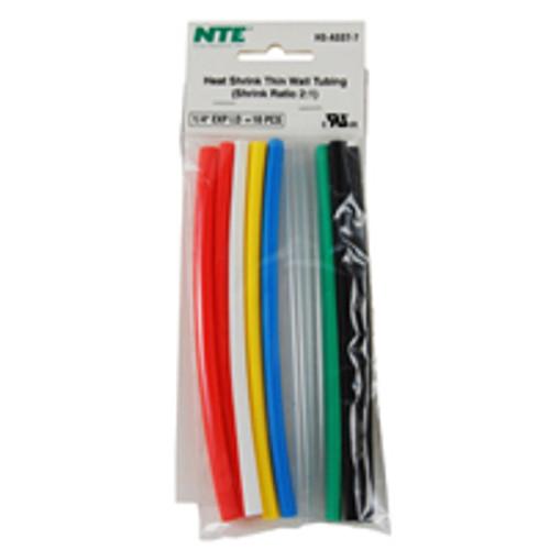 """NTE HS-ASST-7 1/4"""" Diameter, 6"""" Length Multi-Color Thin Wall Heat Shrink Assortment Pack"""