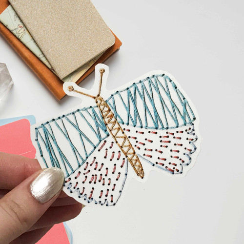 Stitched Butterfly Sticker