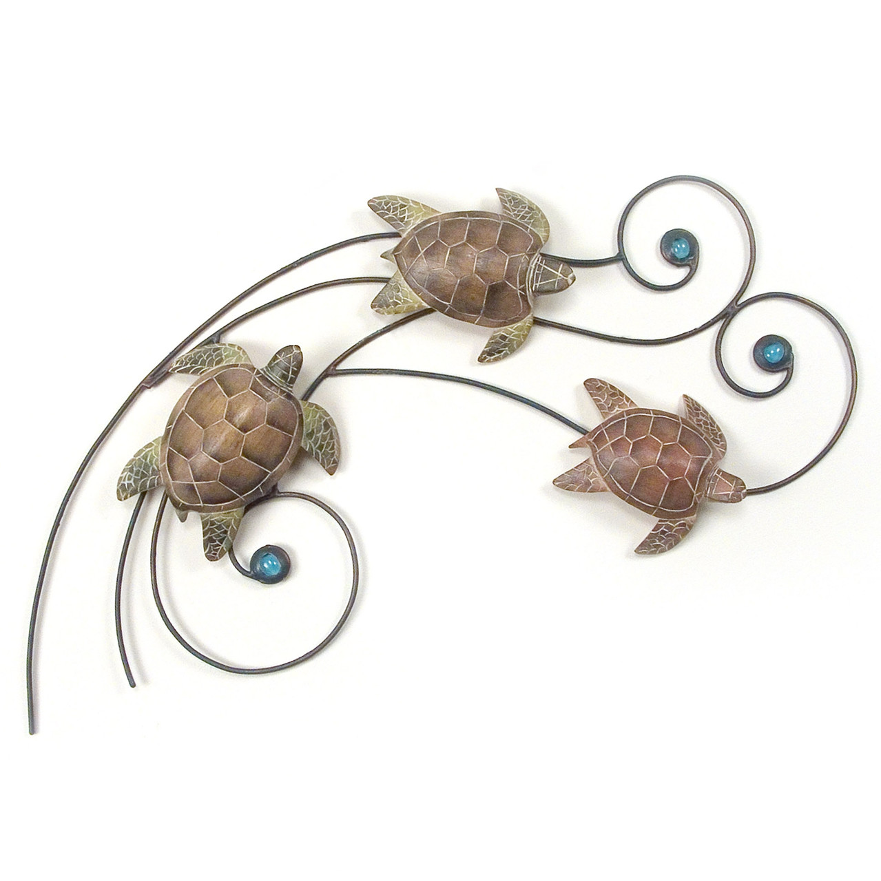 Sea Turtle Wave Metal And Wood Wall Art