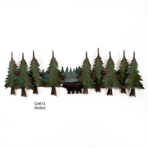 Pine Tree Bear Swag Metal Wall Art CA613