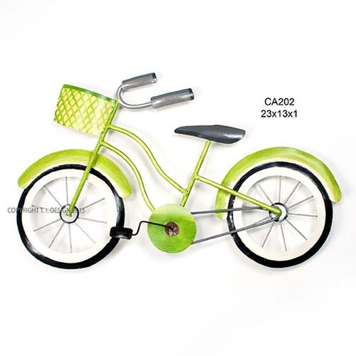 Beach Cruiser Lime Green Metal Wall Art