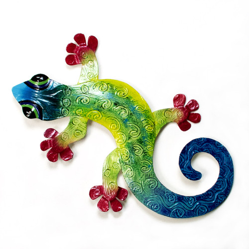 Gecko Med Blue/Turquoise Metal Wall Art