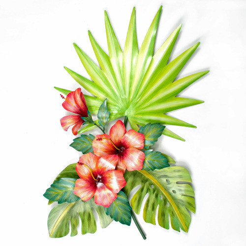 "Hibiscus and palmetto leaf spray metal wall art. Hand made and hand painted on the island of Bali. Size is approx. 30 x 23 x 4"".  Designer Joanne Ferrara"