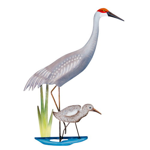 Metal sandhill crane with baby wall art.  Hand cut out in Bali and hand painted.