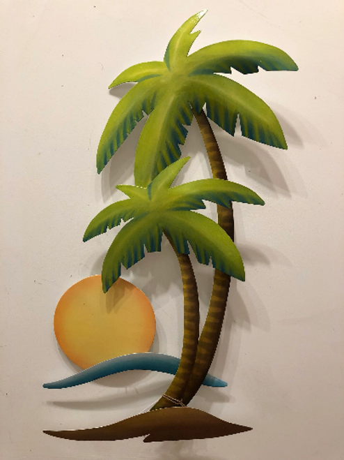 Palm and Sun Metal Wall Art from designer Joanne Ferrara. Hand painted.