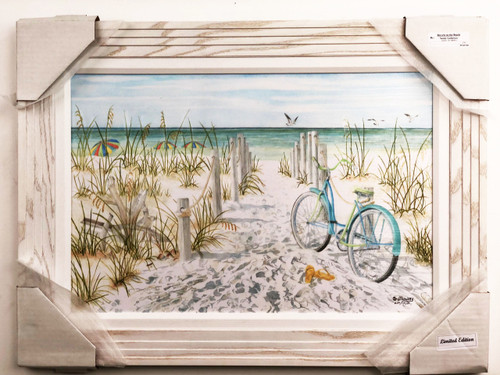 Beach scene painting  with a bicycle parked at the beach.  Flip flops are left behind, and owner is nowhere to be found.  Another great day at the beach.  Painted reproduction of American artwork.