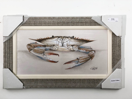 """Blue Crab, Big Jim, is a limited edition computer painted reproduction of American artist Art La May. Comes ready to hang with wire hanger on back, 1"""" matted fabric, and real wooden frame."""