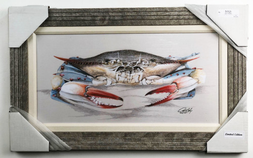 """Blue Crab limited edition computer painted reproduction of American artist Art La May. Comes ready to hang with wire hanger on back, 1"""" matted fabric, and real wooden frame. Size is 30 x 18""""."""