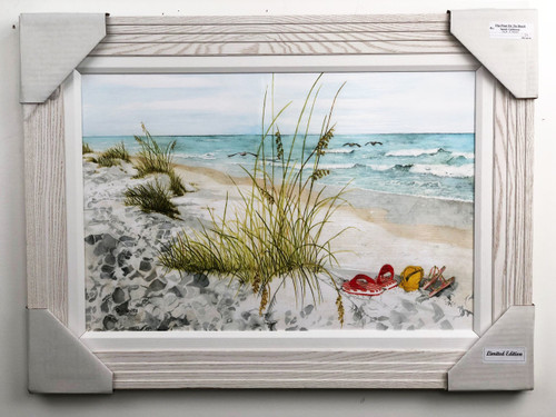 Flip Flops On The Beach painting, a textured reproduction of an original painting by American artist Sandy Galloway . With large real wood white frame.