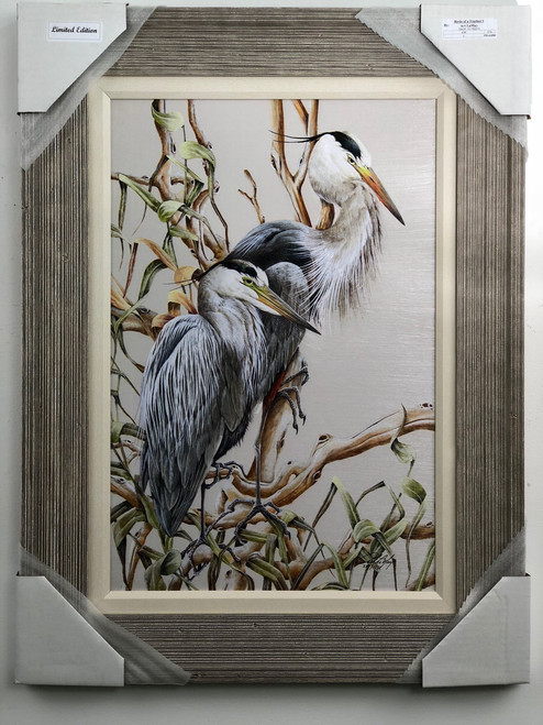 "Painted herons on canvas with 1"" fabric matting.  Also included is the 3"" real wood lite grey driftwood frame.  Finished back with wire hanger for easy display.  Size is approx. 30"" x 24"".  Made in USA."