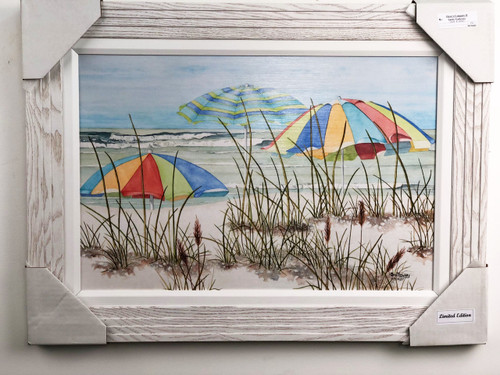 "Three beach umbrellas painting by american artist and reproduced with real wooden frame and fabric matting.  Size is 30"" x 22""."