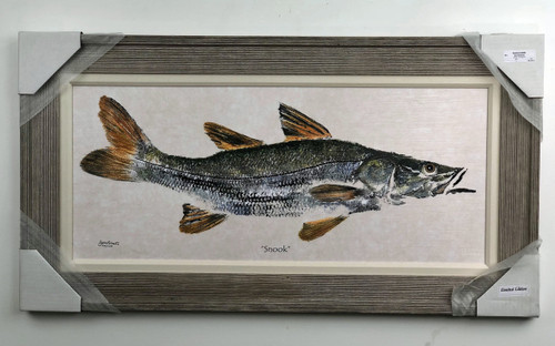 Snook on canvas large painting with wood frame and fabric matting.  Reproduction of an original American artist.  Computer painted on canvas with real wooden frame and fabric matting.   Painting is over 3.5' long!