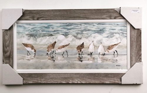 "Large Sandpipers on Beach wall Painting.  Mounted on a large 3"" concave frame and a 1"" fabric matting.  Wire hanger on back for easy display.  Painting is over 3.5' long!"