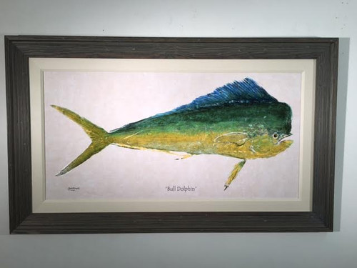 """Giant painting of Bull  Dolphin ( Mahi Mahi )with large driftwood frame and fabric mating.  Size includes frame, 50"""" x 30"""".  Made in USA.  Limited Edition."""
