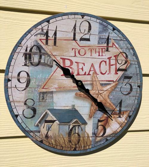 """Beach Clock Wall 13.5"""""""