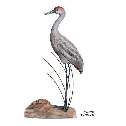 Sandhill Crane Standing Wooden Sculpture