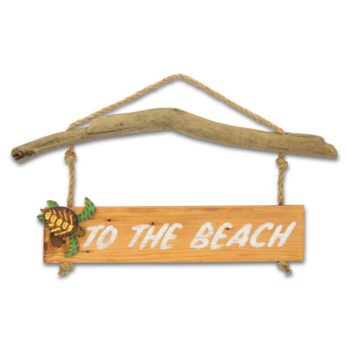 TO THE BEACH WALL SIGN - SEA TURTLE C488