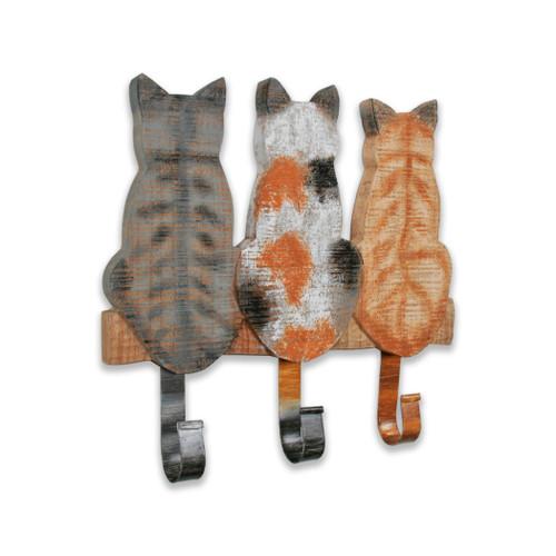 Triple Kitty Cats Wall Hooks C545