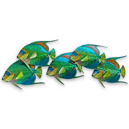 Queen Angelfish School of 5 - Metal Wall Art CO140